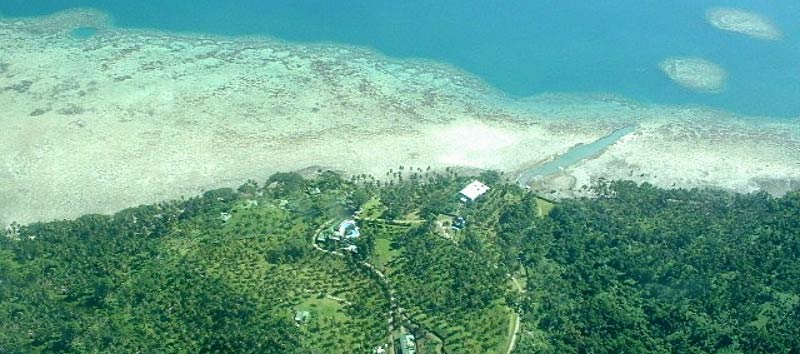 View of the Lomalagi Resort and Natewa Bay from the air